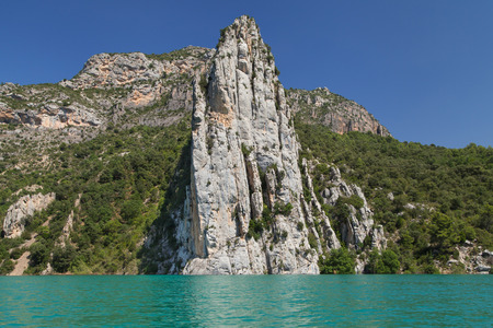 Cliff of La Pertusa from the Canelles reservoir in La Noguera, Lleida, Catalonia.