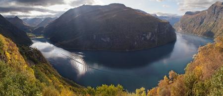 The Geirangerfjord from Ornesvingen, More og Romsdal, Norway.