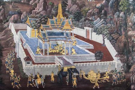 Walled temple from the Ramakien murals at Wat Phra Kaew, Bangkok, Thailand.