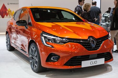 Barcelona, Spain - May 19, 2019: Renault Clio Berlina showcased at Automobile Barcelona 2019.