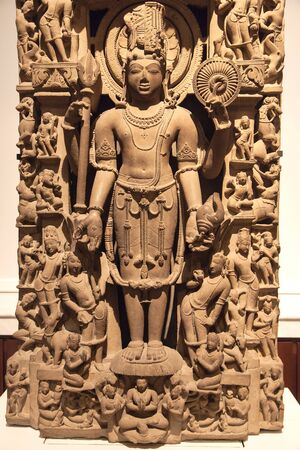 London, United Kingdom - December 21, 2019: Standing figure of Harihara displayed in the British Museum, London, United Kingdom.