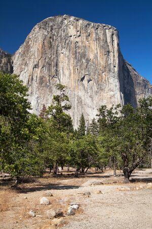 El Capitan seen from Bridal Veil Fall Viewpoint, Yosemite National Park, California, USA. Stock Photo