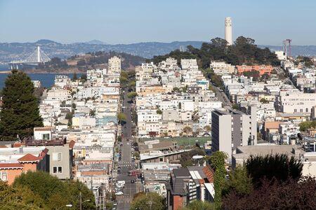 North Beach neighborhood seen from Russian Hill, San Francisco, California, USA.