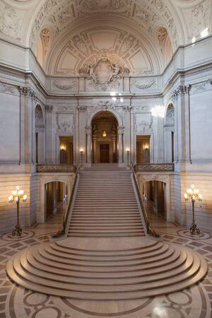 Grand Staircase at San Francisco City Hall, San Francisco, California, USA.
