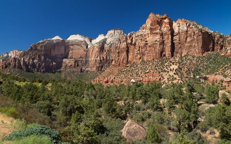 The Streaked Wall and Mount Spry, Zion National Park, Utah, USA.