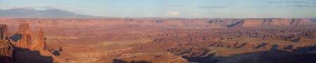 Panorama from Mesa Arch, Island in the Sky, Canyonlands National Park, Utah, United States. Reklamní fotografie