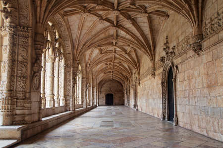 Lower Cloister of the Jeronimos Monastery, Lisbon, Portugal.