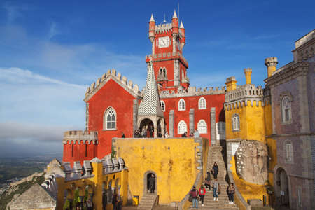 Sintra, Portugal - December 23, 2019: Pena Palace in Sintra, Portugal.