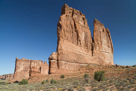 Tower of Babel and the Organ in Arches National Park, Utah, USA.