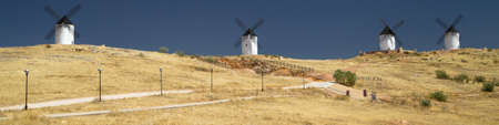 Windmills of the Hill of San Anton in Alcazar de San Juan, Ciudad Real, Spain.