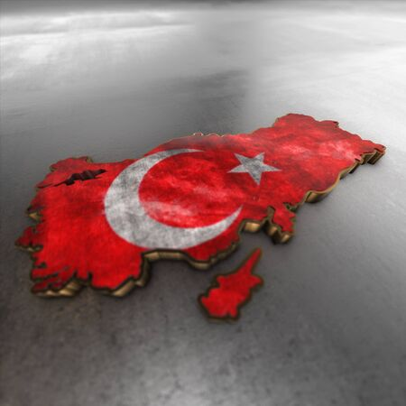 3d turkey: turkey background. Shape 3d map with flag of turkey isolated on white.