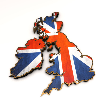 Great Britains golden background. Shape 3d of United Kingdom map with flag isolated on white. Stok Fotoğraf