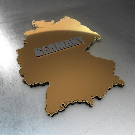 isolator: germany gold background. Shape 3d map with flag of germany isolator