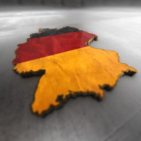 isolator: germany background. Shape 3d map with flag of germany isolator