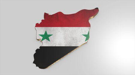 Syria: syria background. Shape 3d map with flag of syria isolator
