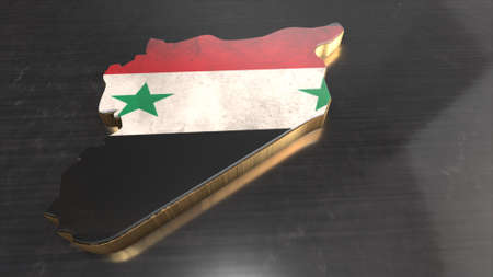 isolator: syria background. Shape 3d map with flag of syria isolator