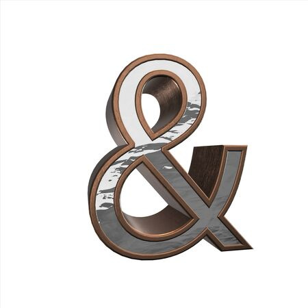 cooper: 3d rendering of the cooper and letter brushed metal on a white isolated background.