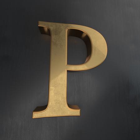 metallic: Golden shining elegant metallic 3D alphabet