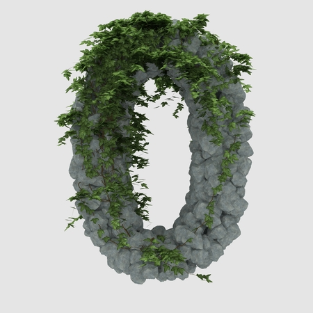ivy vine: Rock letter covered with ivy 0 Stock Photo