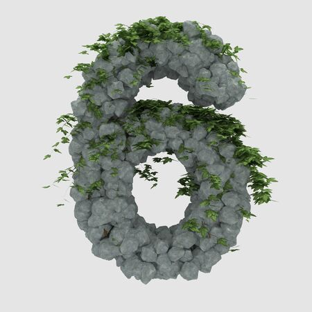 ivy vine: Rock letter with ivy covered 6