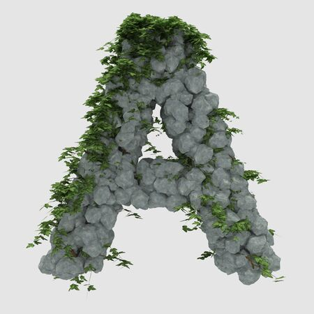 creeper: Rock covered in ivy with letter Stock Photo