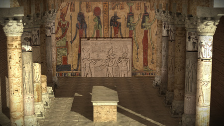 3d temple: 3d render Ancient Egypt temple Stock Photo