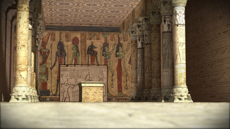 fertility goddess: Ancient Egyptian temple 3d rendering
