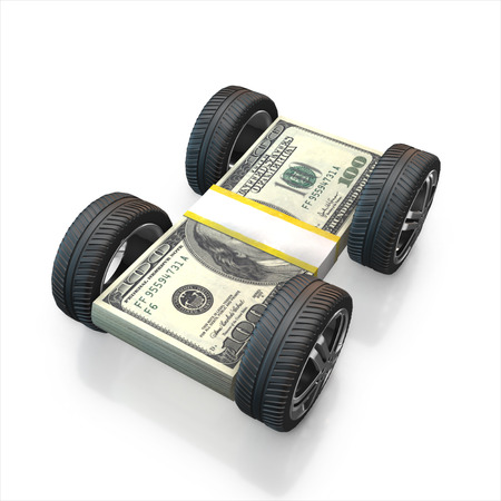 treads: Set of car wheels and dollar stack   isolated on a white background