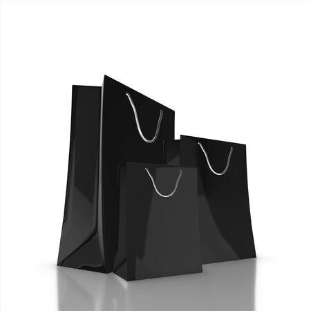 Black elegant shopping bag isolated on white. Shopping concept 3d rendering.