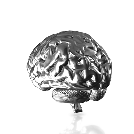 Silver human brain isolated and white background.3d render.