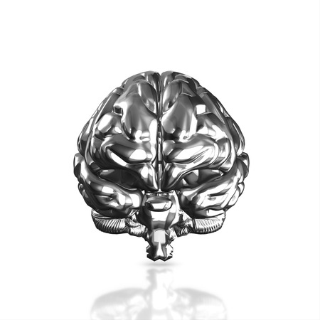 losing brain function: Silver human brain isolated and white background.3d render.