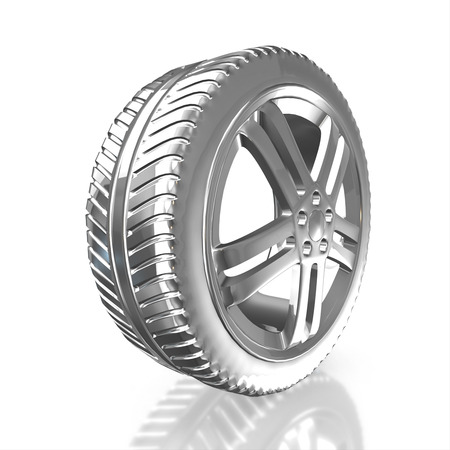 Modern silver car wheel isolated on a white background. 3d render high resolution