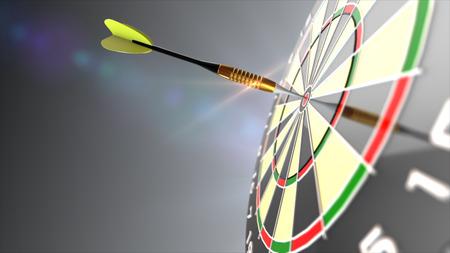 Dart arrows in bulls eye of dartboard. 3d render.