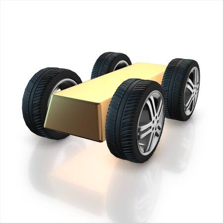 gold bullion: Set of car wheels and gold bullion isolated on a white background