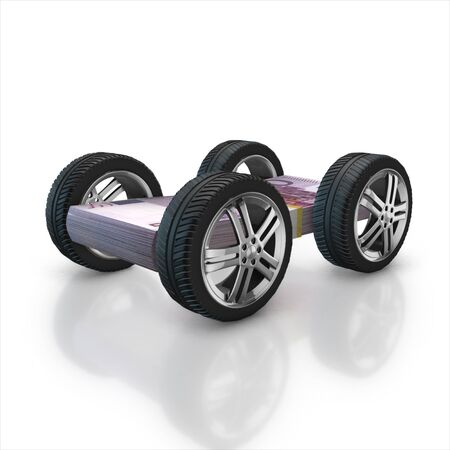 Set of car wheels and euro stack   isolated on a white background