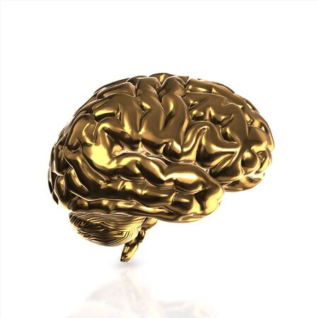 losing memories: golden human brain isolated and white background.3d render. Stock Photo