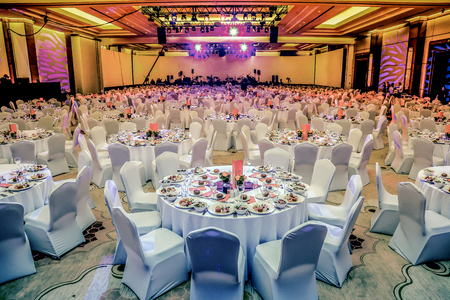 Wedding hall or other function facility set for fine dining Editoriali