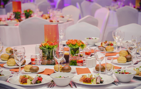 Wedding hall or other function set for fine dining 写真素材
