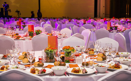 Wedding hall or other function set for fine dining Editorial