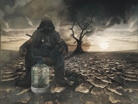 Nuclear post apocalypse survivors concept Banco de Imagens