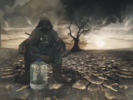 Nuclear post apocalypse survivors concept Stock Photo