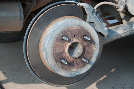 a round of inspection: Disk brake of car  Part of car  Stock Photo