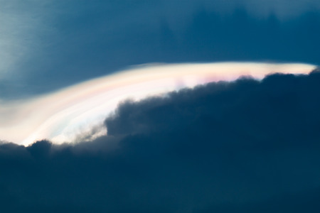 diffraction: A rare sight: iridescent clouds. Diffraction can make clouds shine with colours like a corona.