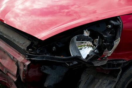 fender bender: red car in an accident