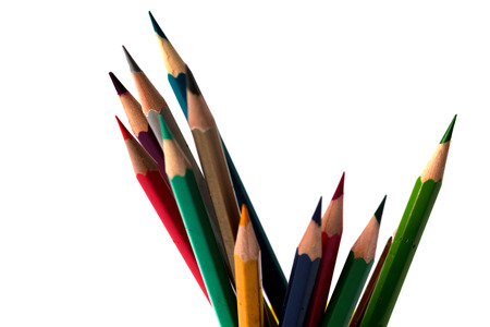 writing utensil: Close up view of colorful pencils for education, isolated on white background.
