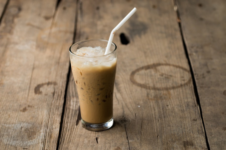 frappe: iced coffee on wood table