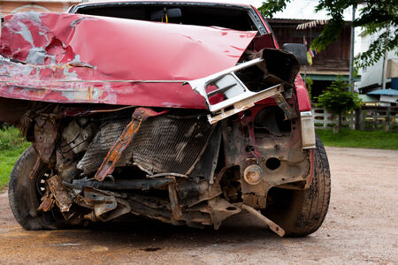 careless: red car in an accident