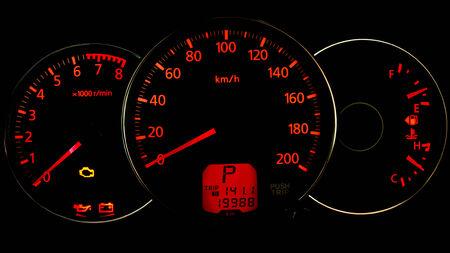 Night time close up of car dashboard Zdjęcie Seryjne
