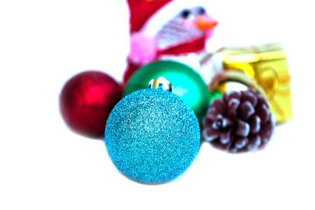 Blue Christmas baubles photo