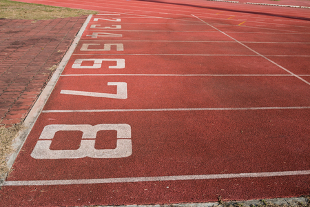 athletics track: Athletics Track Lane Numbers Stock Photo